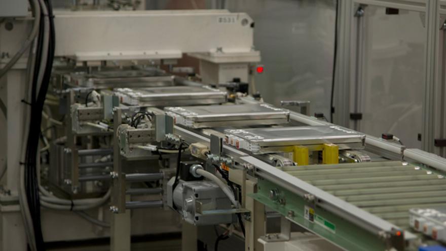 Cadena de montaje de las baterías eléctricas del Nissan Leaf.