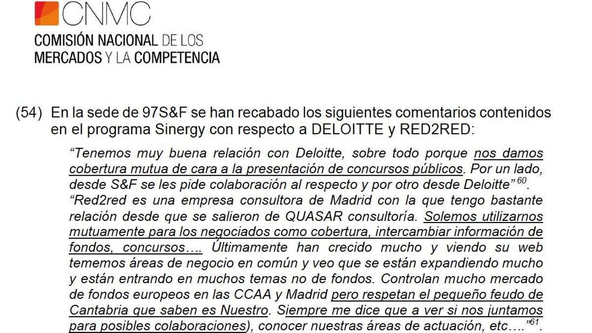 Fragmento del dossier de la CNMC sobre el cártel de las consultoras