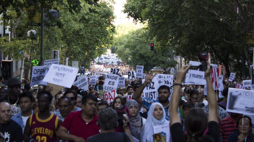 Miles de personas han reclamado una política de asilo más justa a las instituciones europeas. Foto: Alberto Ortiz