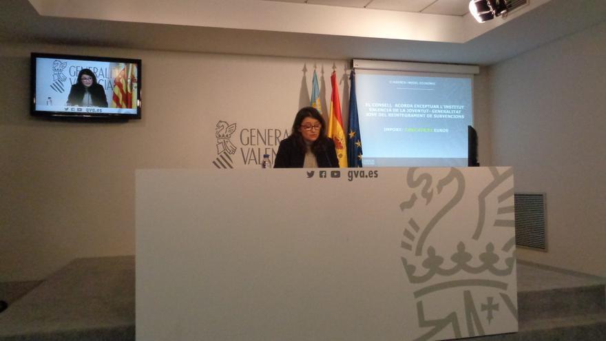 Mònica Oltra, en la rueda de prensa tras el pleno del Consell.