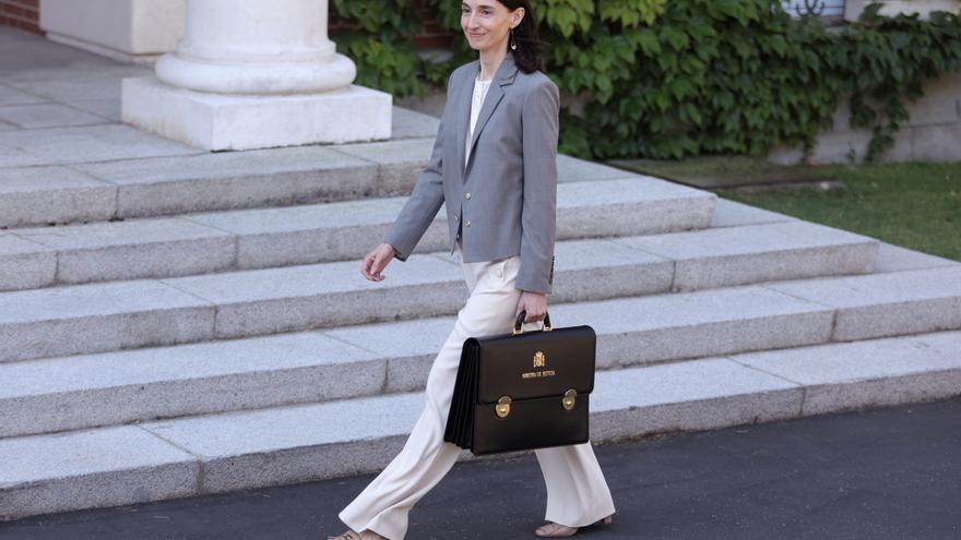La ministra de Justicia, Pilar Llop, llega al Palacio de la Moncloa para participar en el primer Consejo de Ministros tras la remodelación del Gobierno, a 13 de julio de 2021, en Madrid (España). Hoy se celebra el primer Consejo de Ministros en Moncloa de