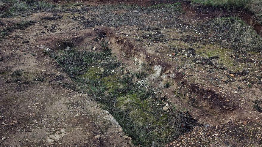 Monte de Estépar III, Burgos. Esta fosa común de 4,70 x 1,90 metros contenía 26 cuerpos en tres capas, asesinados entre agosto y octubre 1936. Las ejecuciones masivas se cometían amparándose en la oscuridad de la noche y, al contrario de lo que ocurría con la mayoría, los cuerpos no se dejaban expuestos durante días, sino que eran inmediatamente enterrados en las fosas comunes que habían sido preparadas previamente. Entre julio de 2014 y abril de 2015 se exhumaron 96 cuerpos de cuatro fosas comunes como esta.
