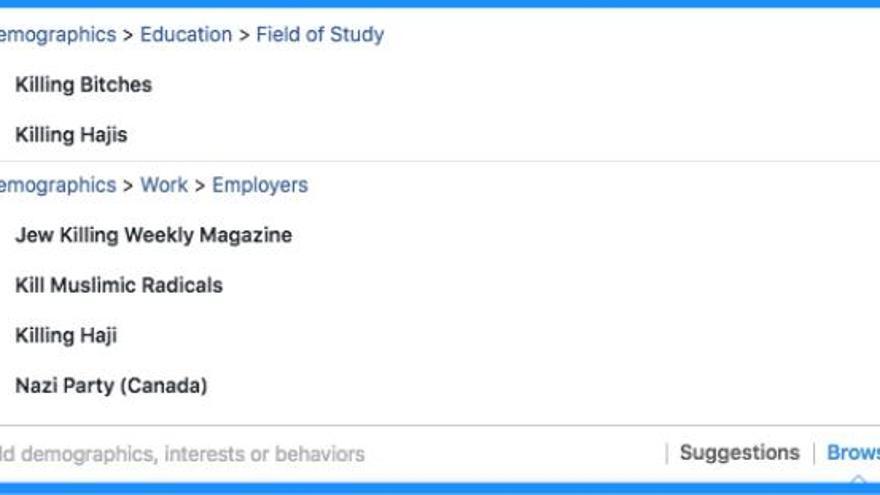 Slate usa el sistema de campañas de Facebook con estas categorías preexistentes