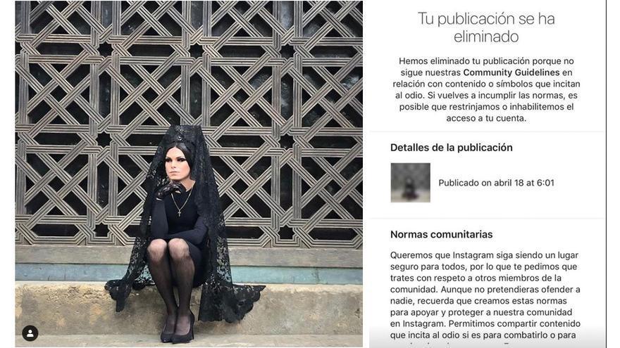 Fotografía censurada por Instagram a por 'incitar al odio'