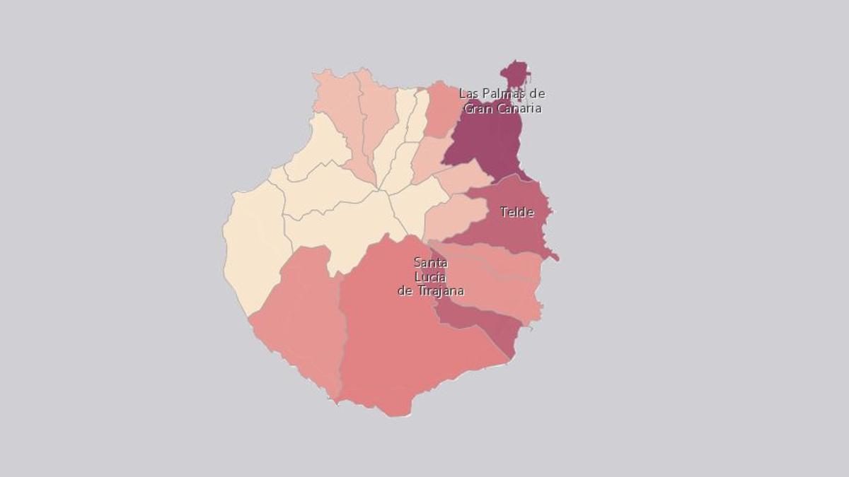 Casos activos de COVID-19 en Gran Canaria este viernes (a más fucsia, más casos)