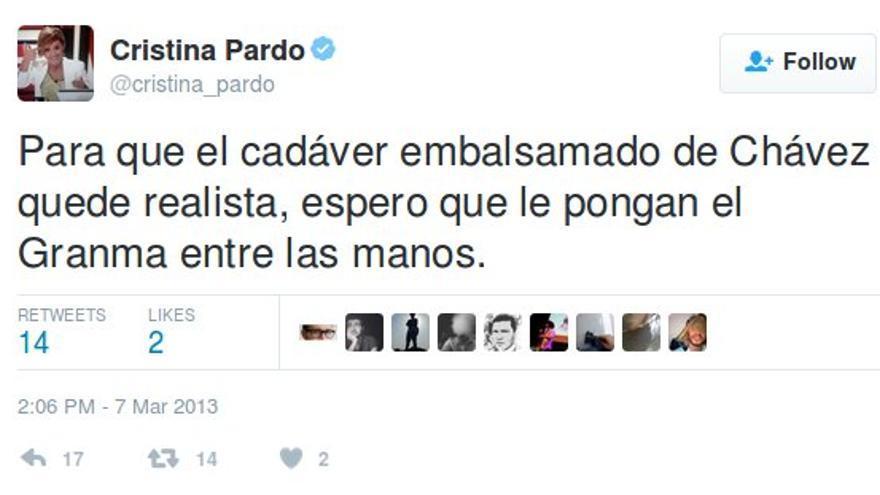 Tuit de la periodista Cristina Pardo.