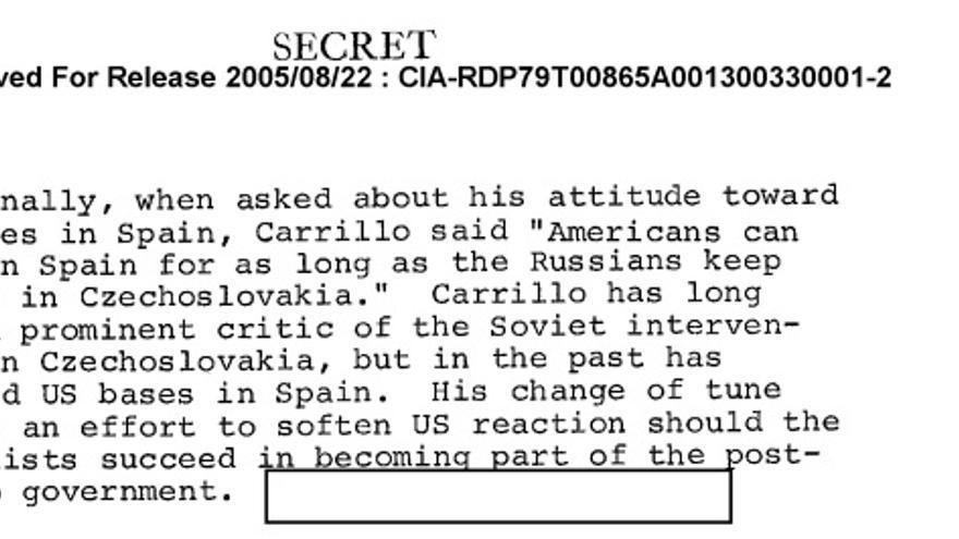Extracto del documento de la CIA con la opinión de Carrillo sobre las bases de EE UU en España.