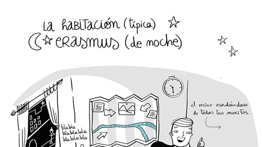 Una de las ilustraciones del libro Cosas que nunca olvidarás de tu Erasmus. / Foto: Lunwerg