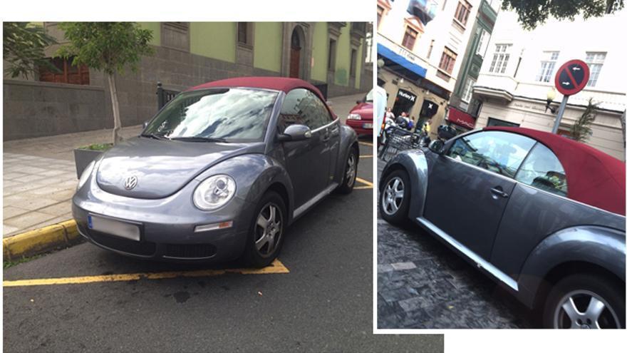 El vehículo perteneciente a la mujer del ministro José Manuel Soria, mal estacionado.