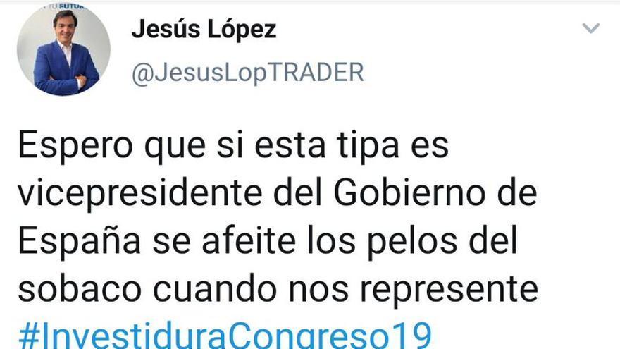Jesús López ataca con un mensaje machista a Irene Montero.