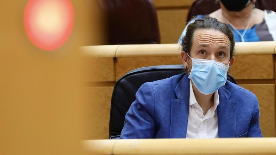 El vicepresidente del Gobierno, Pablo Iglesias, durante una sesión de control al Ejecutivo en el Senado