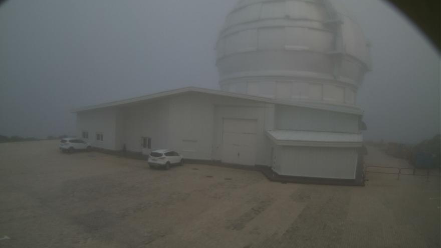 Imagen del entorno del Gran Telescopio Canarias, en el Observatorio del Roque, en la mañana de este lunes, captada de la webcam del GTC.
