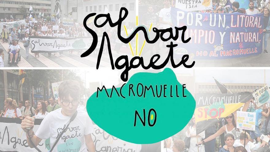 Manifestación en contra del macromuelle de Agaete, frente a Presidencia del Gobierno.