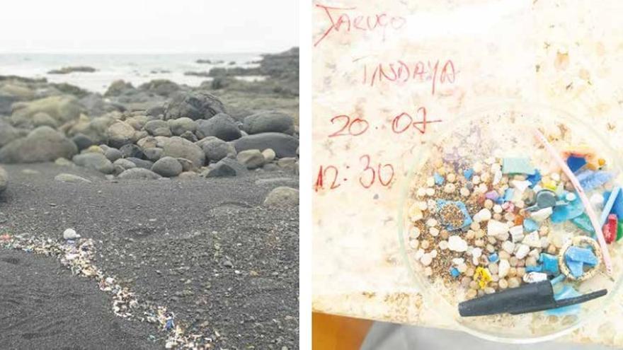Muestras y rastros de microplásticos hallados en la costa de Fuerteventura.