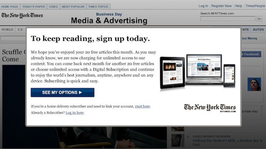 Paywall de The New York Times