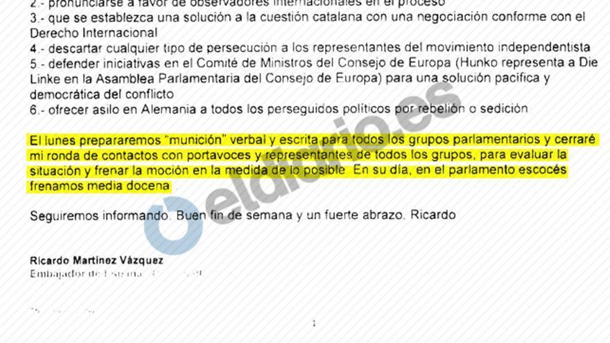 Captura de un correo electrónico enviado a Madrid por el embajador en Reino Unido