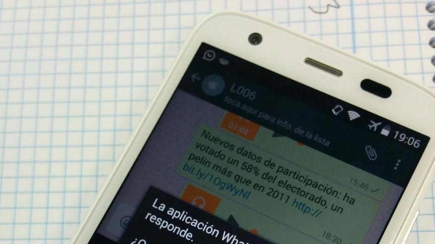 Estado habitual del WhatsApp de eldiario.es la tarde del domingo