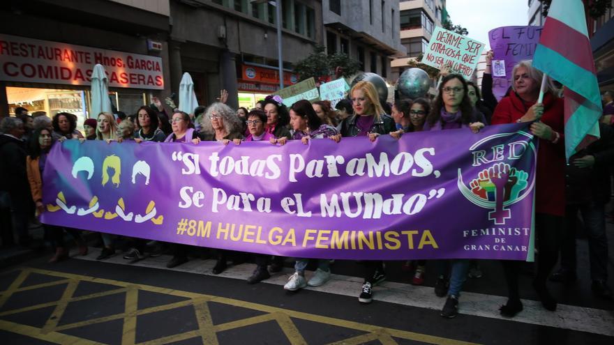 Marcha feminista en Las Palmas de Gran Canaria.