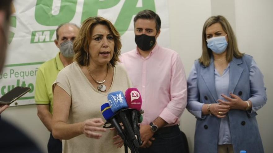 La secretaria general del PSOE de Andalucía, Susana Díaz, en rueda de prensa en Vélez-Málaga