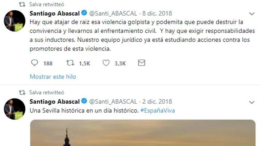 Retuits de Salvador Alba a mensajes de Santiago Abascal.