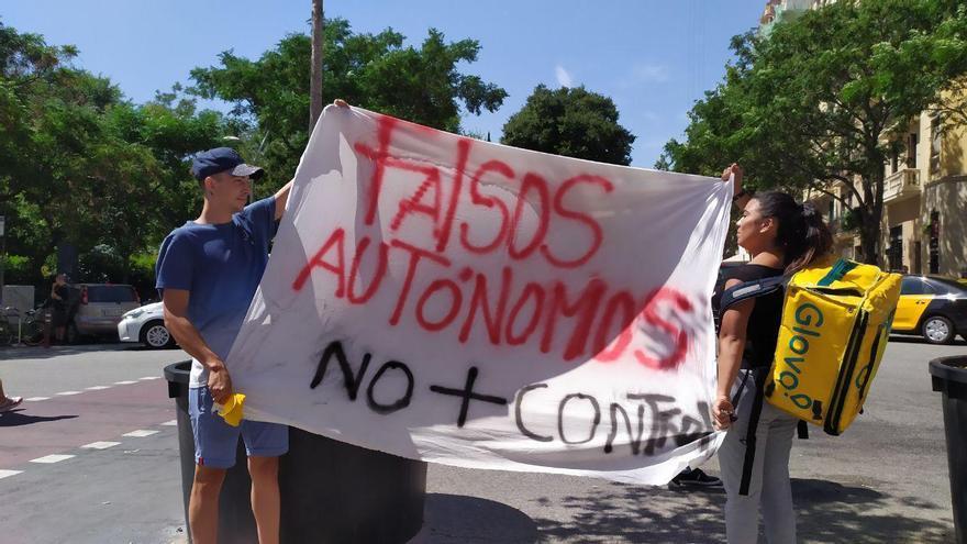Repartidores en huelga en Barcelona