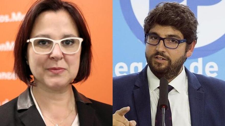 Isabel Franco (Cs) y Fernando López Miras (PP)