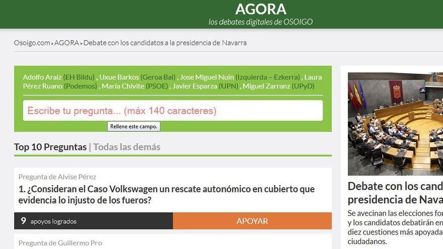 La posibilidad de plantear preguntas en Agora para el debate en Navarra ya ha comenzado.