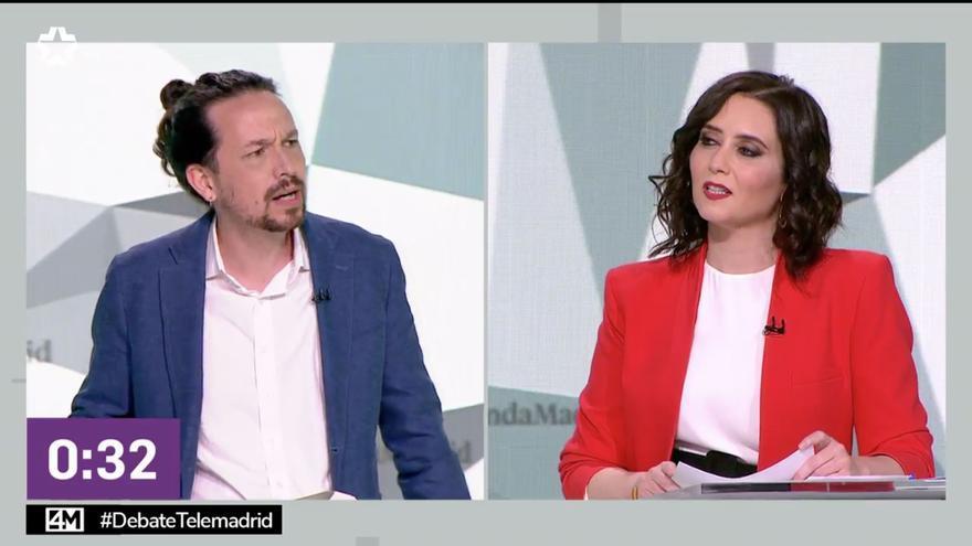 Pablo Iglesias e Isabel Díaz Ayuso en uno de los duelos del debate.