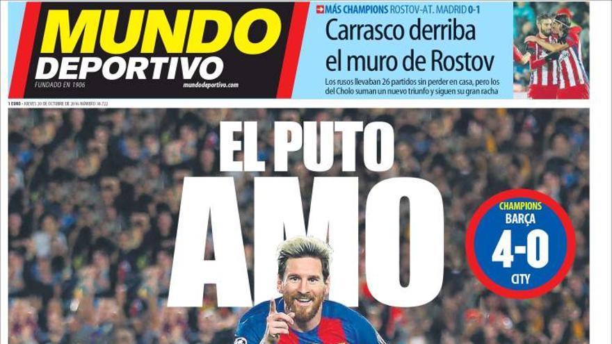 Portada de Mundo Deportivo tras la victoria del Barça frente al City en la Champions