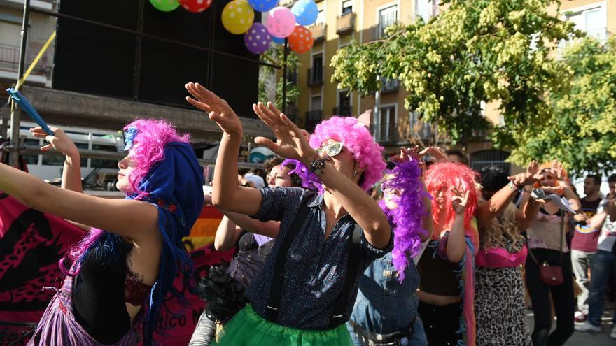 Performance en la manifestación del Orgullo Crítico en Madrid de 2017.