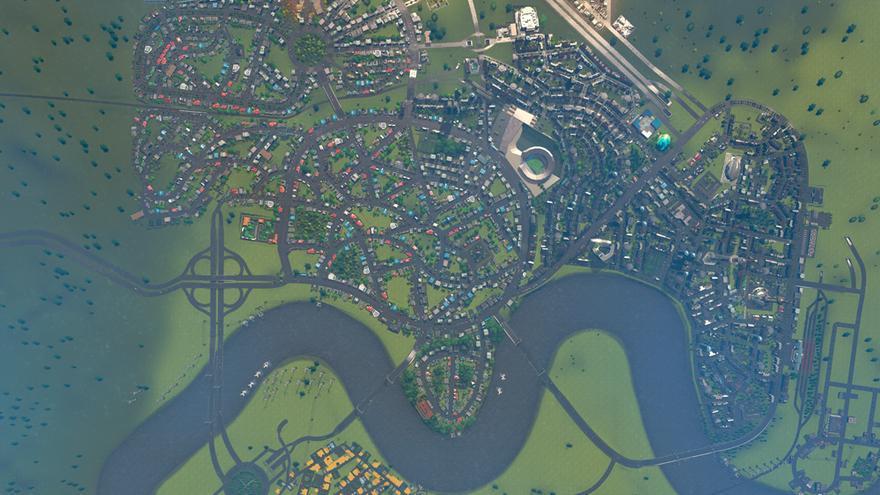 Vista cenital de una ciudad construida sobre el mapa de Londres