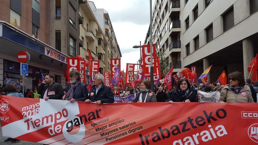 """UGT y CCOO se movilizan en el 1º de Mayo en Pamplona reivindicando que es """"tiempo de ganar"""" para los trabajadores"""