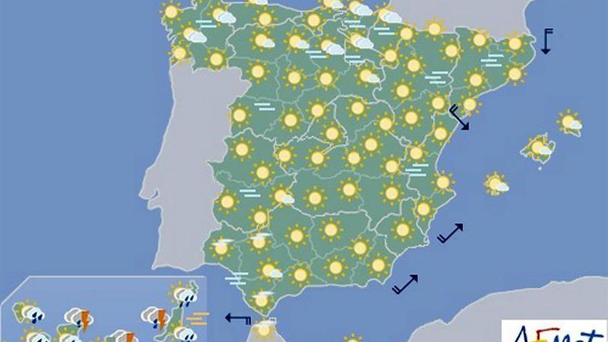Hoy, lluvias fuertes en Canarias y temperaturas estables en la Península