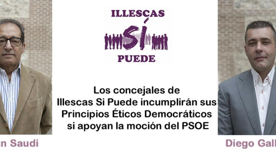 Cartel elaborado por Podemos Illescas sobre los dos ediles 'repudiados'
