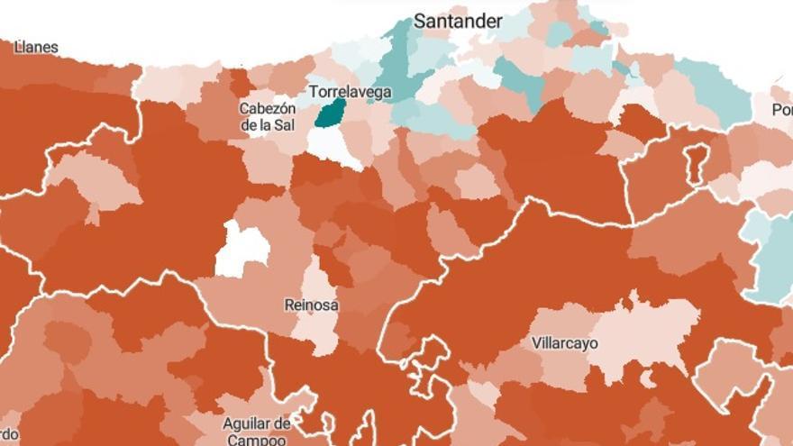 Mapa demográfico de Cantabria desde 1996 a 2018.