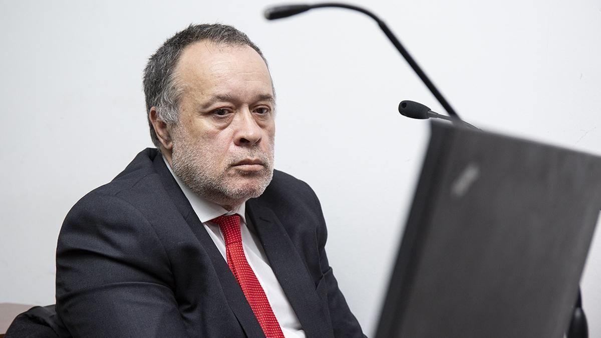 Carlos Telleldín durante una de las audiencias presenciales del juicio que comenzó en mayo de 2019.