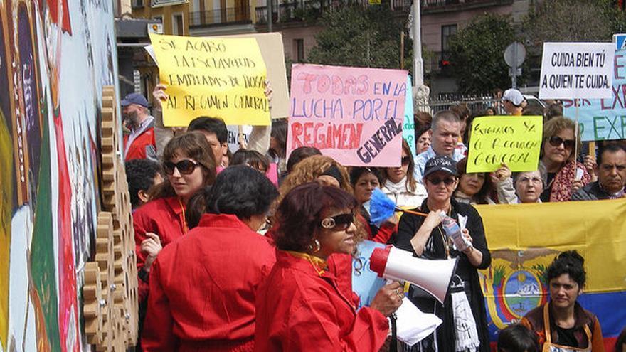 Manifestación de protesta de trabajadoras del hogar.