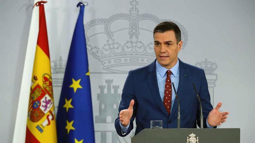 El presidente del Gobierno, Pedro Sánchez, durante la comparecencia en el Palacio de la Moncloa