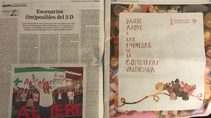 Publicidad de la Generalitat en el periódico 'La Razón'.
