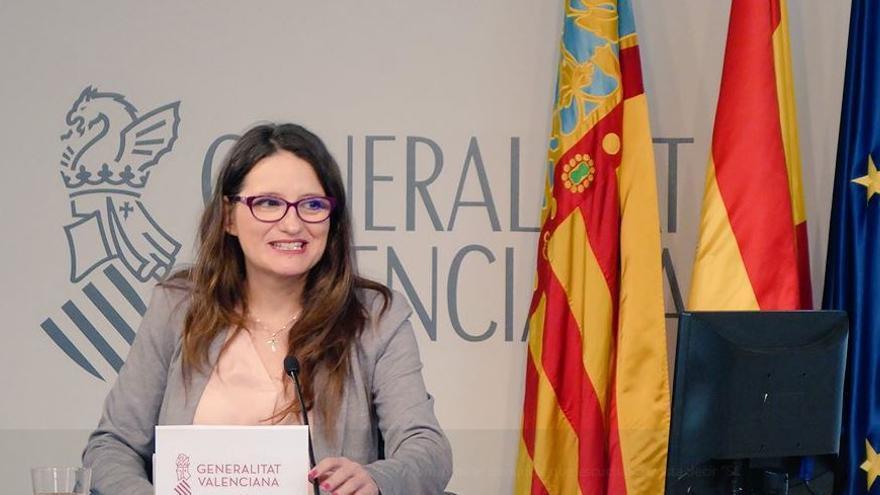La vicepresidenta del Consell, Mónica Oltra, durante la rueda de prensa posterior al pleno del Consell