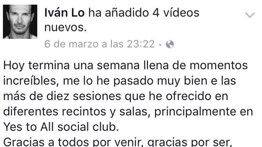 Post de Losada en su Facebook el 6 de marzo.
