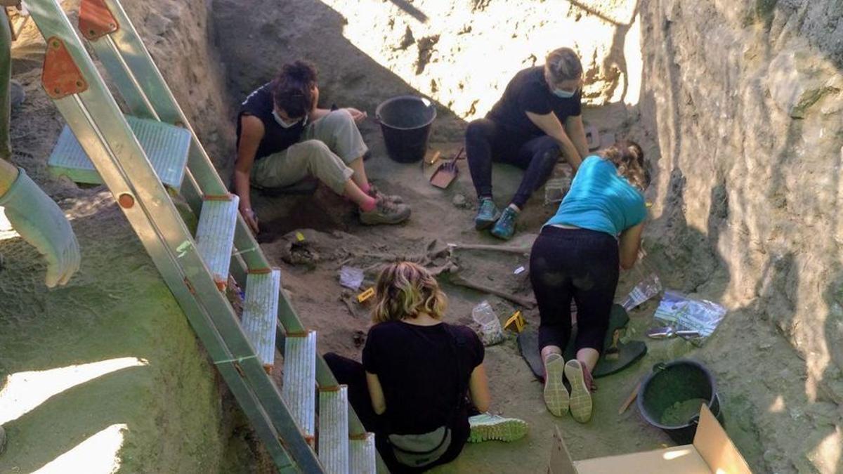 Exhumación por la ARMH de una fosa en El Espinar el pasado mes de septiembre