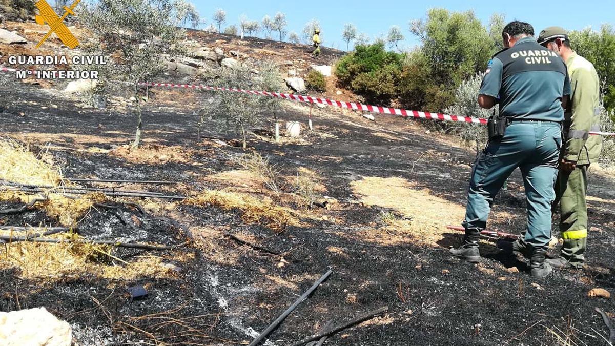 La Guardia Civil y un agente forestal investigando un incendio en Carcabuey.