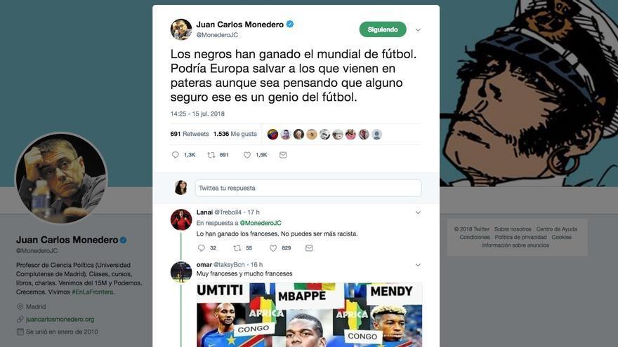 Tuit de Juan Carlos Monedero.