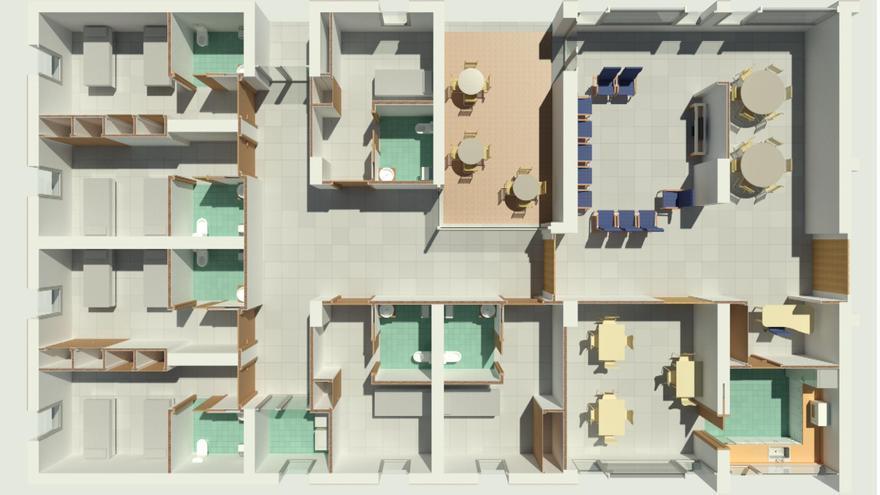 Una unidad de convivencia para 11 personas de la futura residencia de mayores de Sant Mateu, con cocina, comedor, salón y terraza propios.