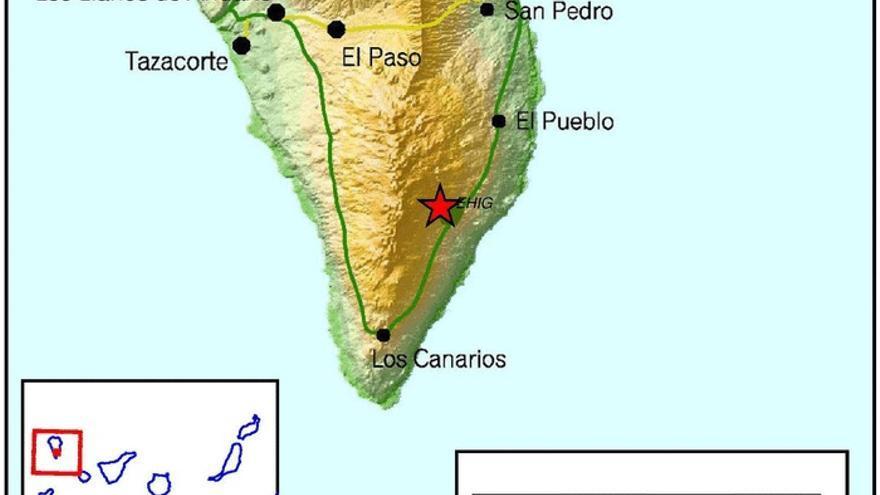 Mapa del IGN del punto donde se ha registrado este domingo el terremoto de 2,5 de magnitud en la dorsal sur de La Palma.