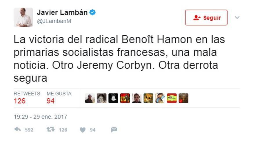 Tuit de Javier Lambán contra Jeremy Corbyn