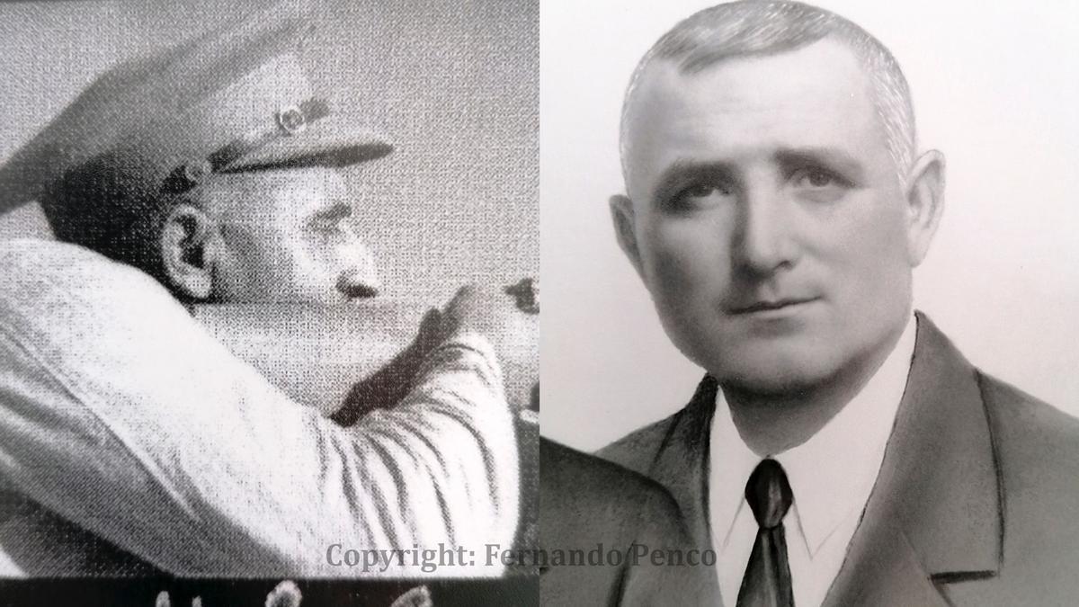 El oficial Rafael Medina, a la izquierda en una foto de Capa, y a la derecha en otra imagen familiar