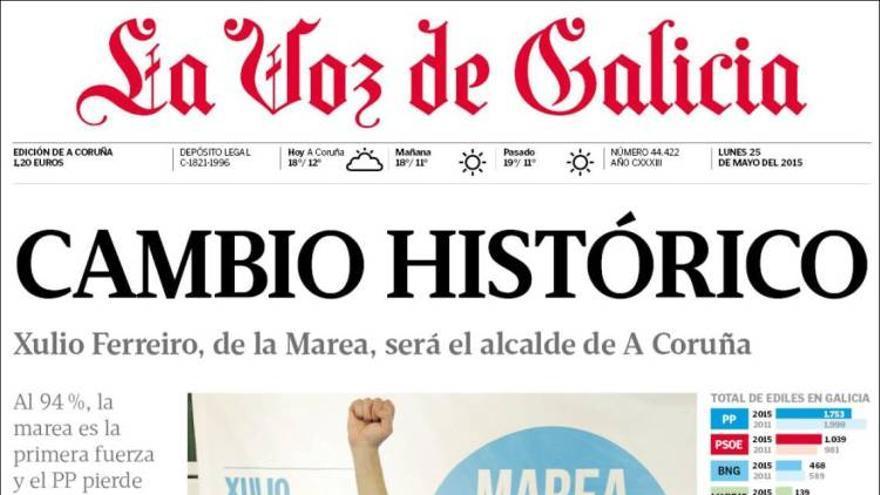 Portada de La Voz de Galicia