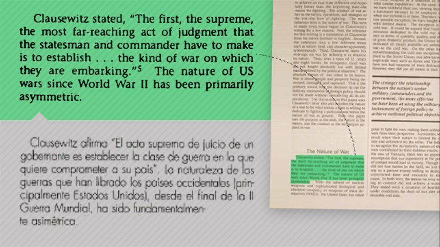 Fragmento copiado en el artículo sobre Clausewitz en la publicación del Ejército del Aire